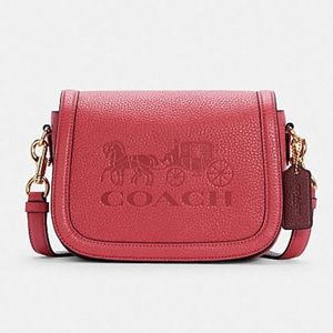 Coach Saddle Bag With Horse And Carriage Crossbody Bag Gold/Poppy/Vintage Mauve